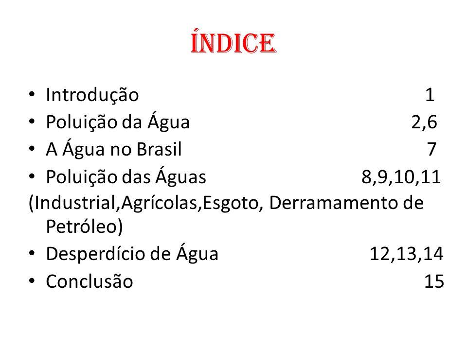 Índice Introdução 1 Poluição da Água 2,6 A Água no Brasil 7 Poluição das Águas 8,9,10,11 (Industrial,Agrícolas,Esgoto, Derramamento de Petróleo) Despe