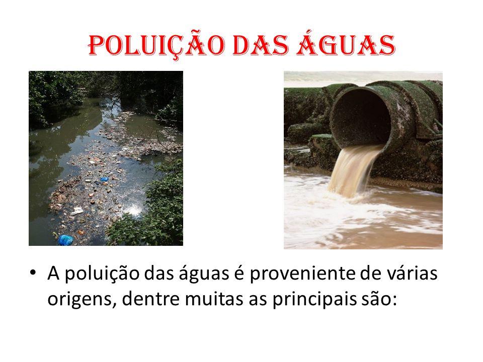 Poluição das águas A poluição das águas é proveniente de várias origens, dentre muitas as principais são: