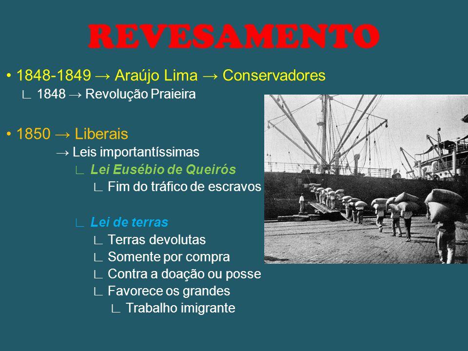 REVESAMENTO 1848-1849 → Araújo Lima → Conservadores ∟ 1848 → Revolução Praieira 1850 → Liberais → Leis importantíssimas ∟ Lei Eusébio de Queirós ∟ Fim