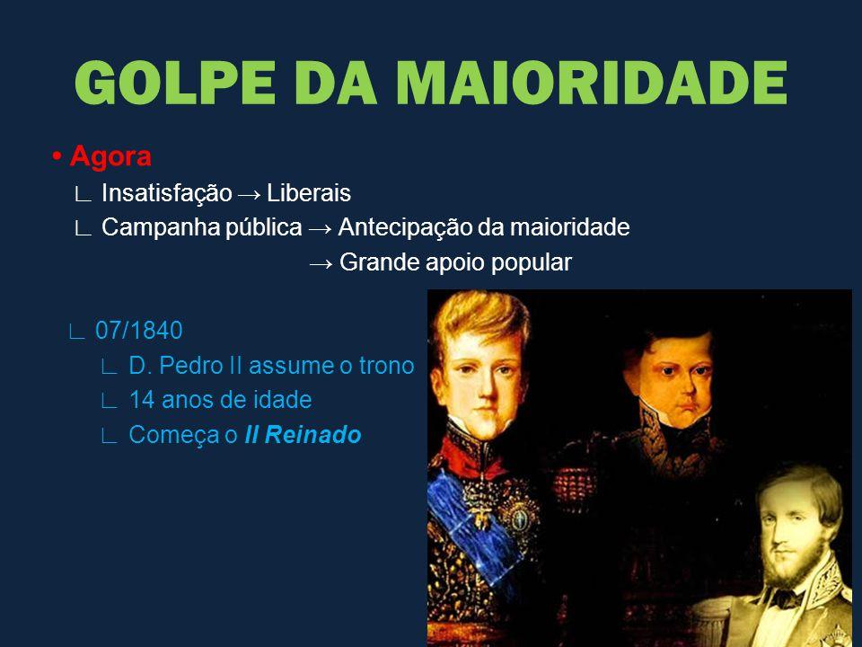 Agora ∟ Insatisfação → Liberais ∟ Campanha pública → Antecipação da maioridade → Grande apoio popular ∟ 07/1840 ∟ D. Pedro II assume o trono ∟ 14 anos