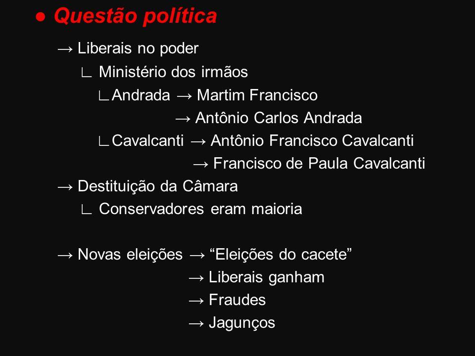 ● Questão política → Liberais no poder ∟ Ministério dos irmãos ∟Andrada → Martim Francisco → Antônio Carlos Andrada ∟Cavalcanti → Antônio Francisco Ca