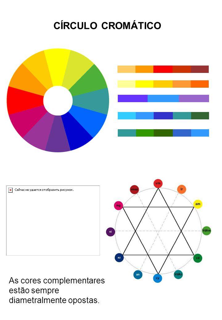 As cores complementares estão sempre diametralmente opostas. CÍRCULO CROMÁTICO