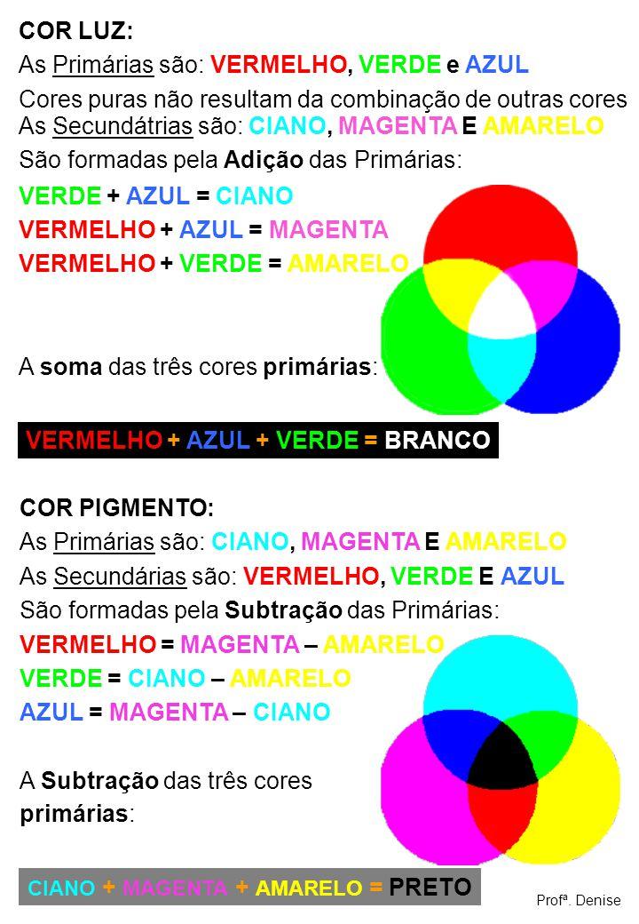 COR LUZ: As Primárias são: VERMELHO, VERDE e AZUL Cores puras não resultam da combinação de outras cores As Secundátrias são: CIANO, MAGENTA E AMARELO