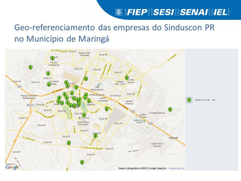 Geo-referenciamento das empresas do Sinduscon PR no Município de Maringá