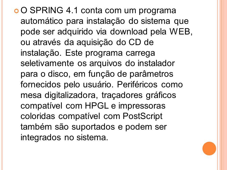O SPRING 4.1 conta com um programa automático para instalação do sistema que pode ser adquirido via download pela WEB, ou através da aquisição do CD d