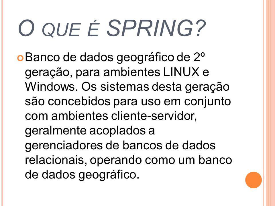 O QUE É SPRING? Banco de dados geográfico de 2º geração, para ambientes LINUX e Windows. Os sistemas desta geração são concebidos para uso em conjunto