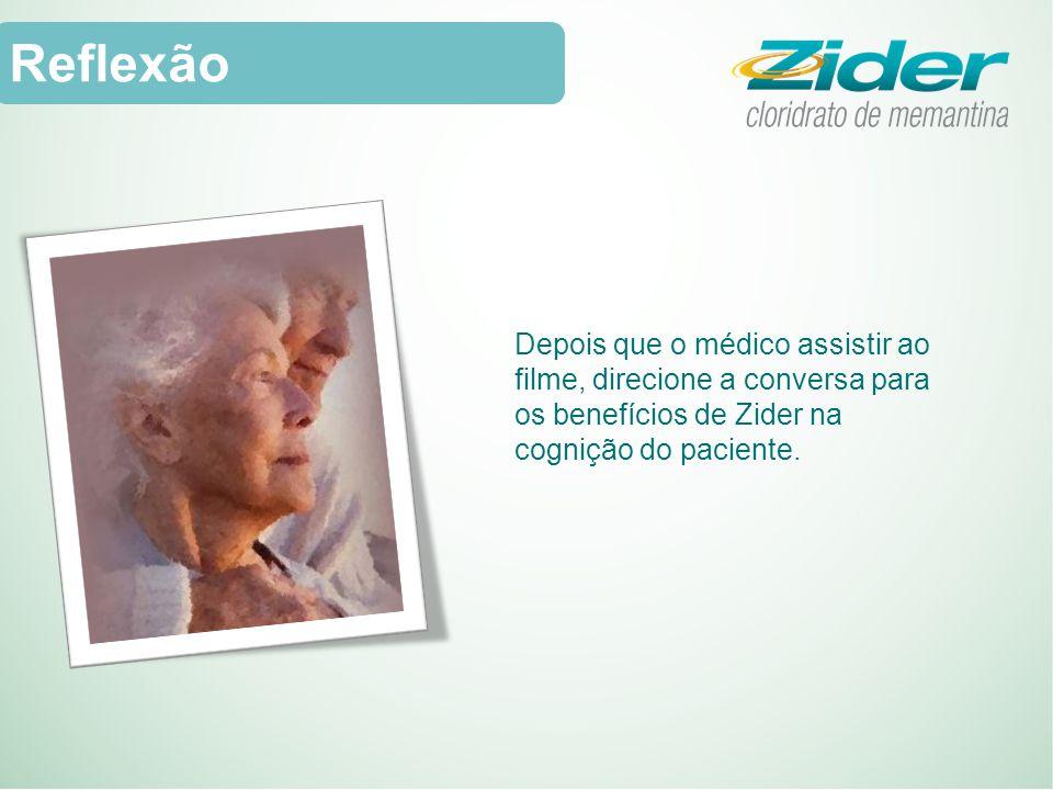 Reflexão Depois que o médico assistir ao filme, direcione a conversa para os benefícios de Zider na cognição do paciente.