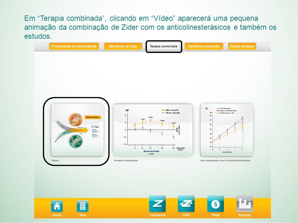 Em Terapia combinada , clicando em Vídeo aparecerá uma pequena animação da combinação de Zider com os anticolinesterásicos e também os estudos.