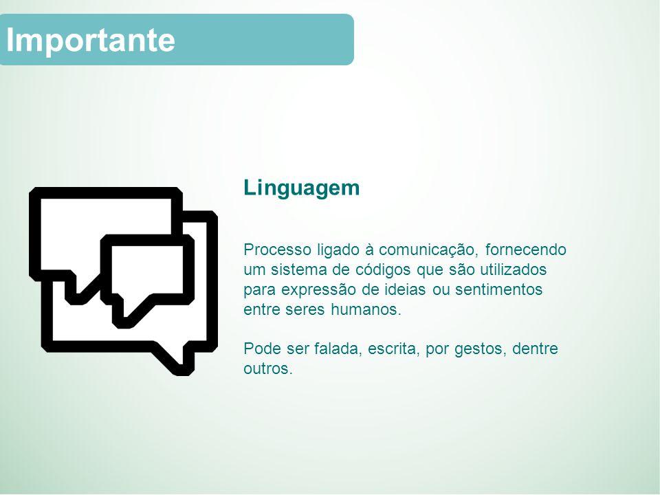 Linguagem Processo ligado à comunicação, fornecendo um sistema de códigos que são utilizados para expressão de ideias ou sentimentos entre seres humanos.