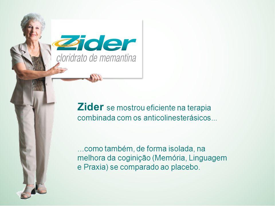 Zider se mostrou eficiente na terapia combinada com os anticolinesterásicos......como também, de forma isolada, na melhora da coginição (Memória, Linguagem e Praxia) se comparado ao placebo.