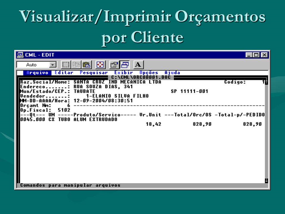 Visualizar/Imprimir Orçamentos por Cliente