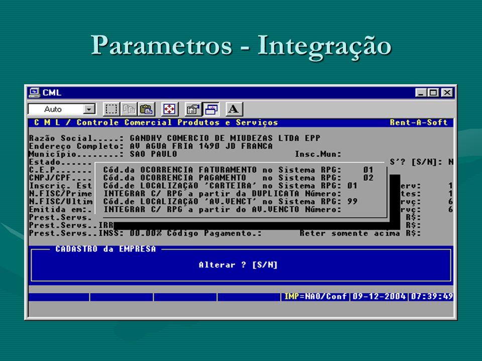 Parametros - Integração