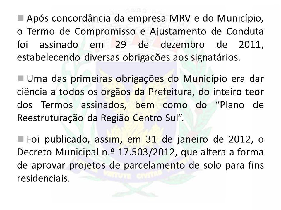 Após concordância da empresa MRV e do Município, o Termo de Compromisso e Ajustamento de Conduta foi assinado em 29 de dezembro de 2011, estabelecendo