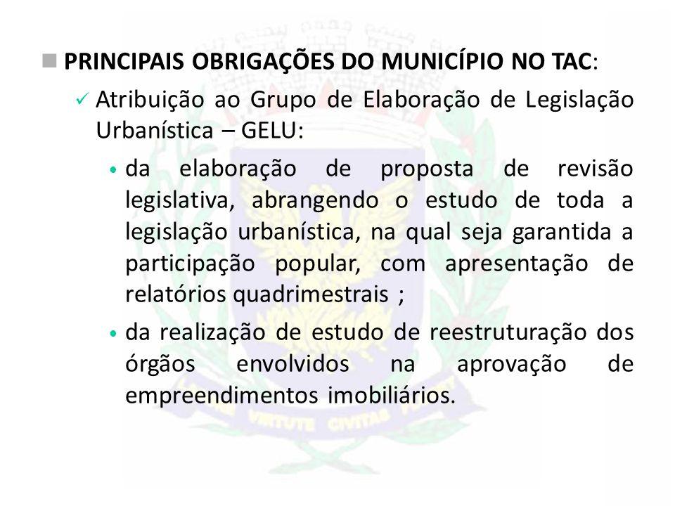 PRINCIPAIS OBRIGAÇÕES DO MUNICÍPIO NO TAC: Atribuição ao Grupo de Elaboração de Legislação Urbanística – GELU: da elaboração de proposta de revisão le