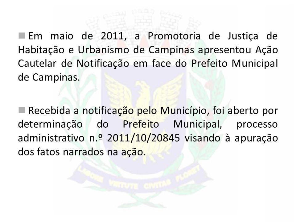 Em maio de 2011, a Promotoria de Justiça de Habitação e Urbanismo de Campinas apresentou Ação Cautelar de Notificação em face do Prefeito Municipal de