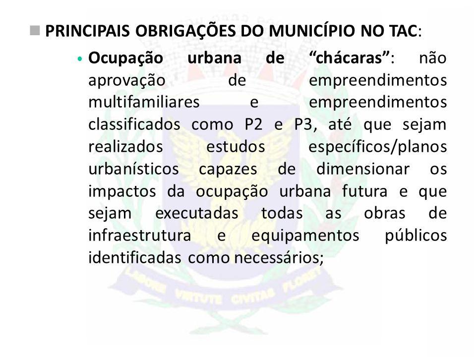 """PRINCIPAIS OBRIGAÇÕES DO MUNICÍPIO NO TAC: Ocupação urbana de """"chácaras"""": não aprovação de empreendimentos multifamiliares e empreendimentos classific"""