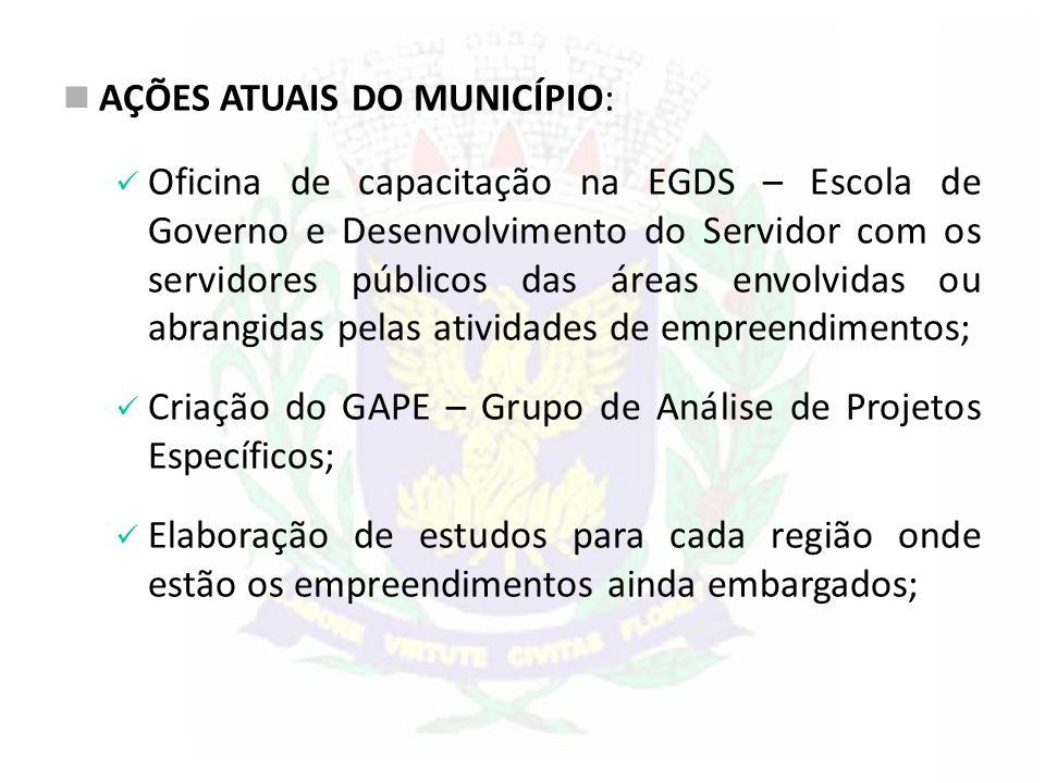 AÇÕES ATUAIS DO MUNICÍPIO: Oficina de capacitação na EGDS – Escola de Governo e Desenvolvimento do Servidor com os servidores públicos das áreas envol
