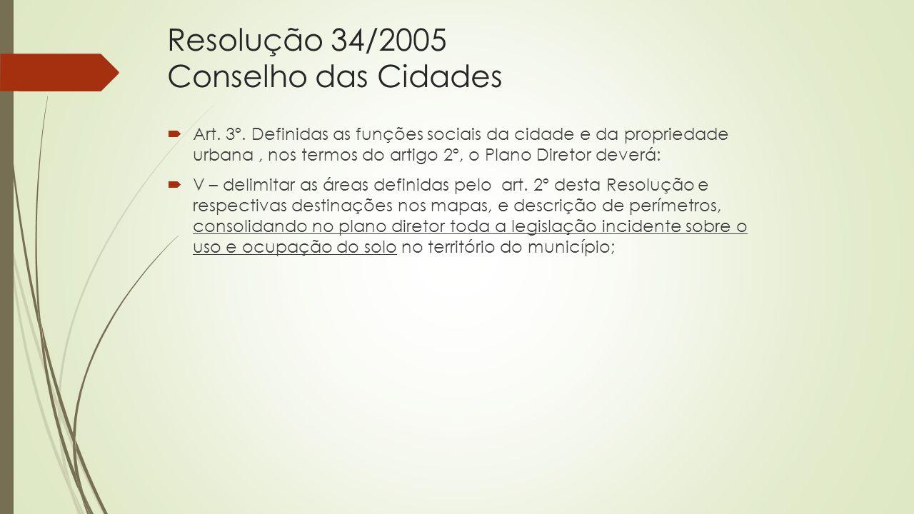 Resolução 34/2005 Conselho das Cidades  Art. 3º. Definidas as funções sociais da cidade e da propriedade urbana, nos termos do artigo 2º, o Plano Dir