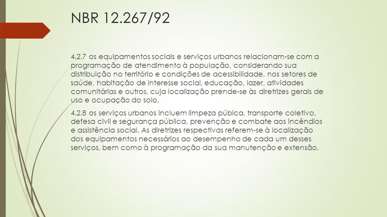 NBR 12.267/92 4.2.7 os equipamentos sociais e serviços urbanos relacionam-se com a programação de atendimento à população, considerando sua distribuiç