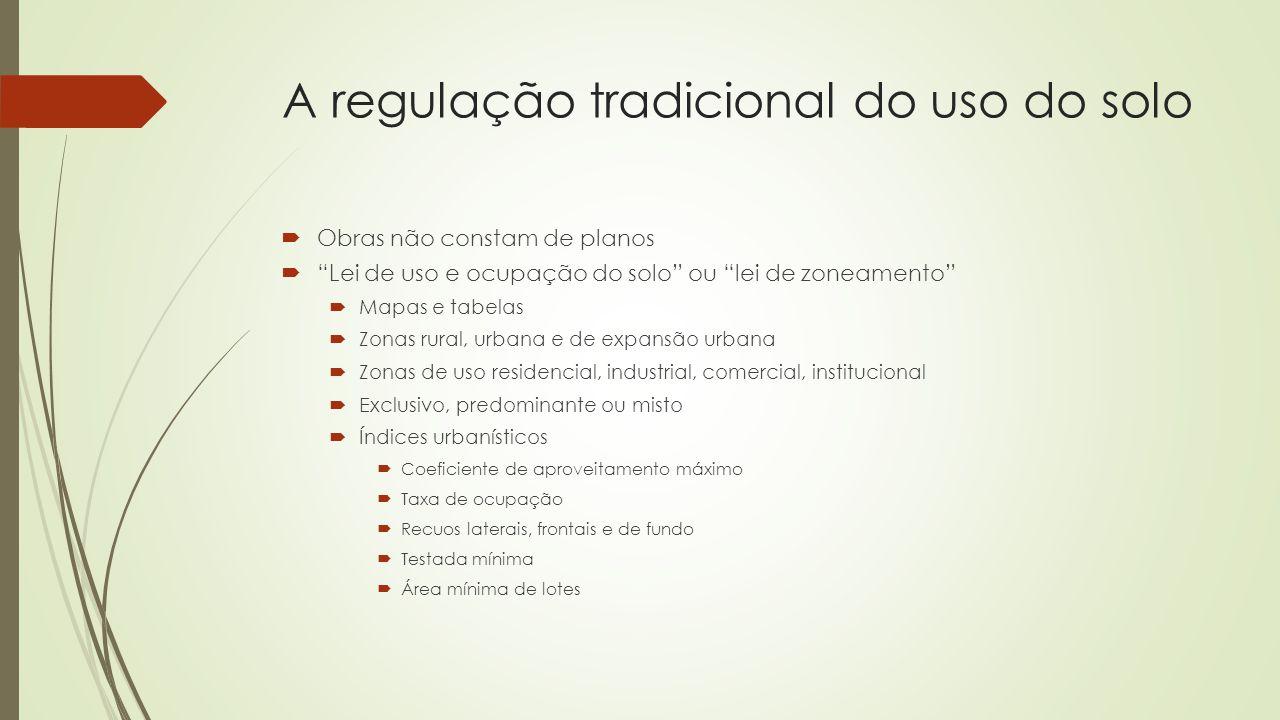 """A regulação tradicional do uso do solo  Obras não constam de planos  """"Lei de uso e ocupação do solo"""" ou """"lei de zoneamento""""  Mapas e tabelas  Zona"""