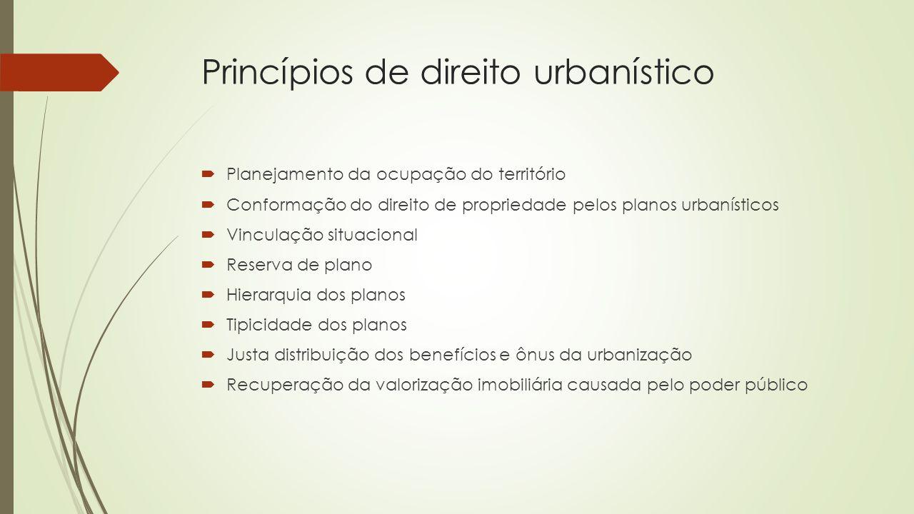 Princípios de direito urbanístico  Planejamento da ocupação do território  Conformação do direito de propriedade pelos planos urbanísticos  Vincula