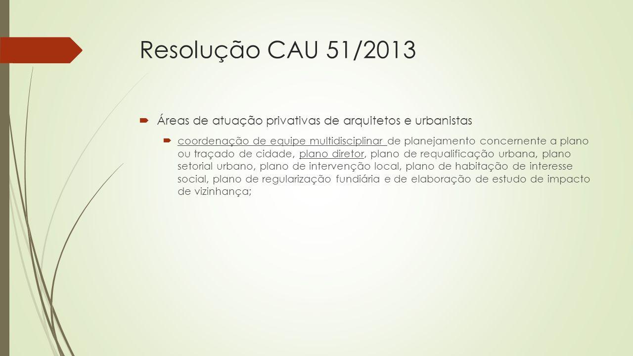 Resolução CAU 51/2013  Áreas de atuação privativas de arquitetos e urbanistas  coordenação de equipe multidisciplinar de planejamento concernente a
