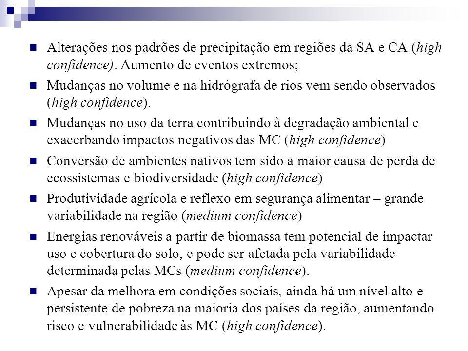 Alterações nos padrões de precipitação em regiões da SA e CA (high confidence). Aumento de eventos extremos; Mudanças no volume e na hidrógrafa de rio