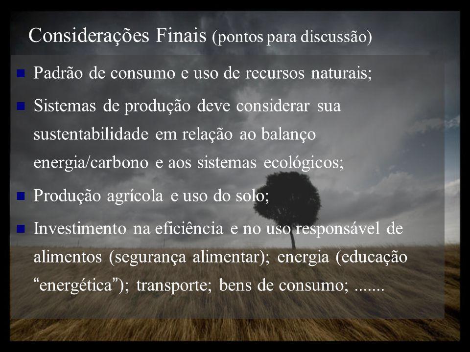 Considerações Finais (pontos para discussão) Padrão de consumo e uso de recursos naturais; Sistemas de produção deve considerar sua sustentabilidade e