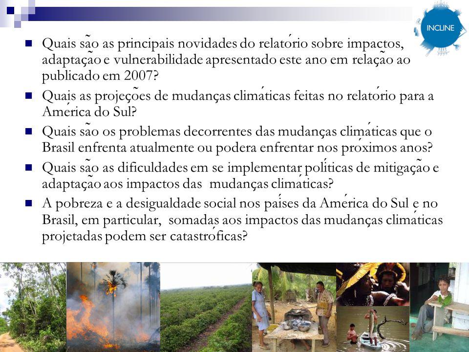 Quais sa ̃ o as principais novidades do relatorio sobre impactos, adaptac ̧ a ̃ o e vulnerabilidade apresentado este ano em relac ̧ a ̃ o ao publicado