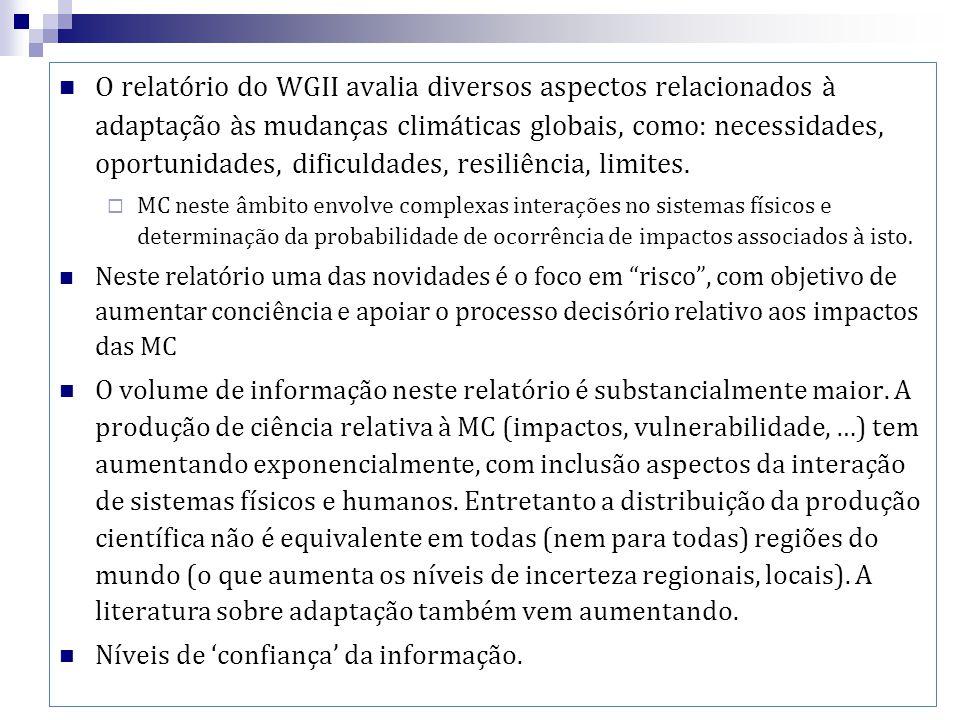 O relatório do WGII avalia diversos aspectos relacionados à adaptação às mudanças climáticas globais, como: necessidades, oportunidades, dificuldades,