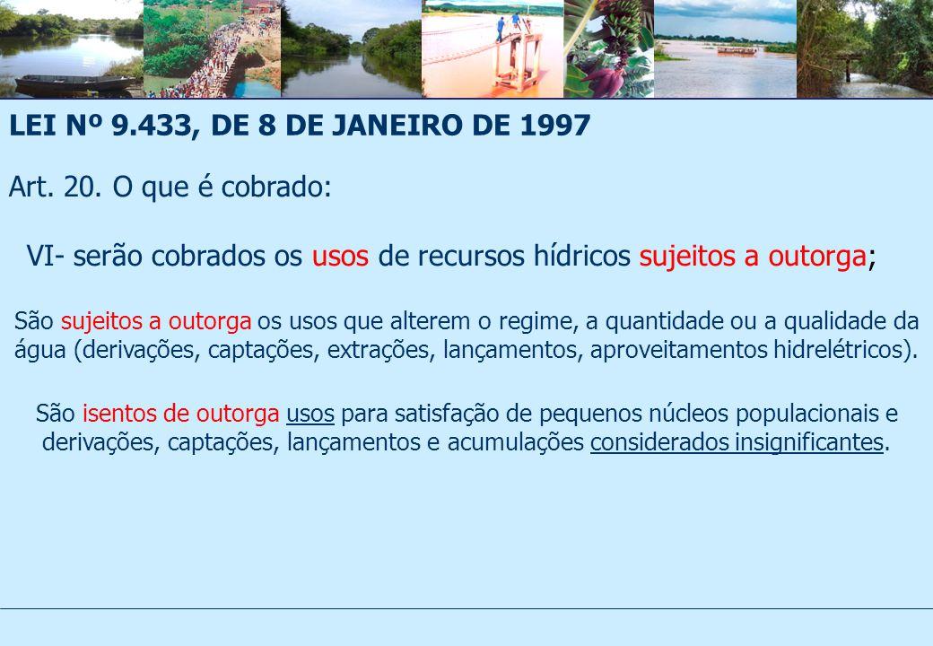 LEI Nº 9.433, DE 8 DE JANEIRO DE 1997 Art.20.
