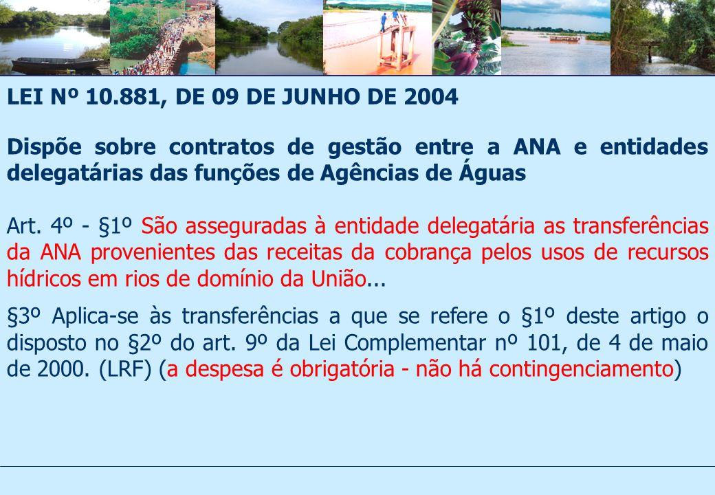 LEI Nº 10.881, DE 09 DE JUNHO DE 2004 Dispõe sobre contratos de gestão entre a ANA e entidades delegatárias das funções de Agências de Águas Art.