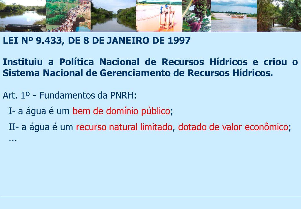 LEI Nº 9.433, DE 8 DE JANEIRO DE 1997 Instituiu a Política Nacional de Recursos Hídricos e criou o Sistema Nacional de Gerenciamento de Recursos Hídricos.