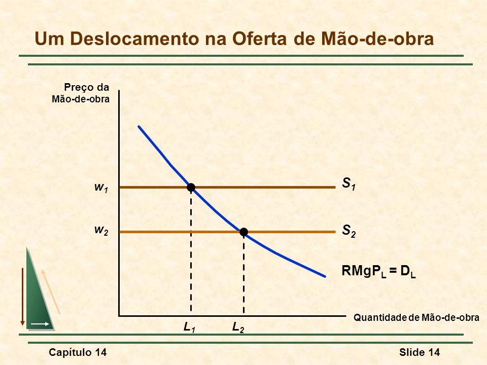 Capítulo 14Slide 14 Um Deslocamento na Oferta de Mão-de-obra Quantidade de Mão-de-obra Preço da Mão-de-obra w1w1 S1S1 RMgP L = D L L1L1 w2w2 L2L2 S2S2