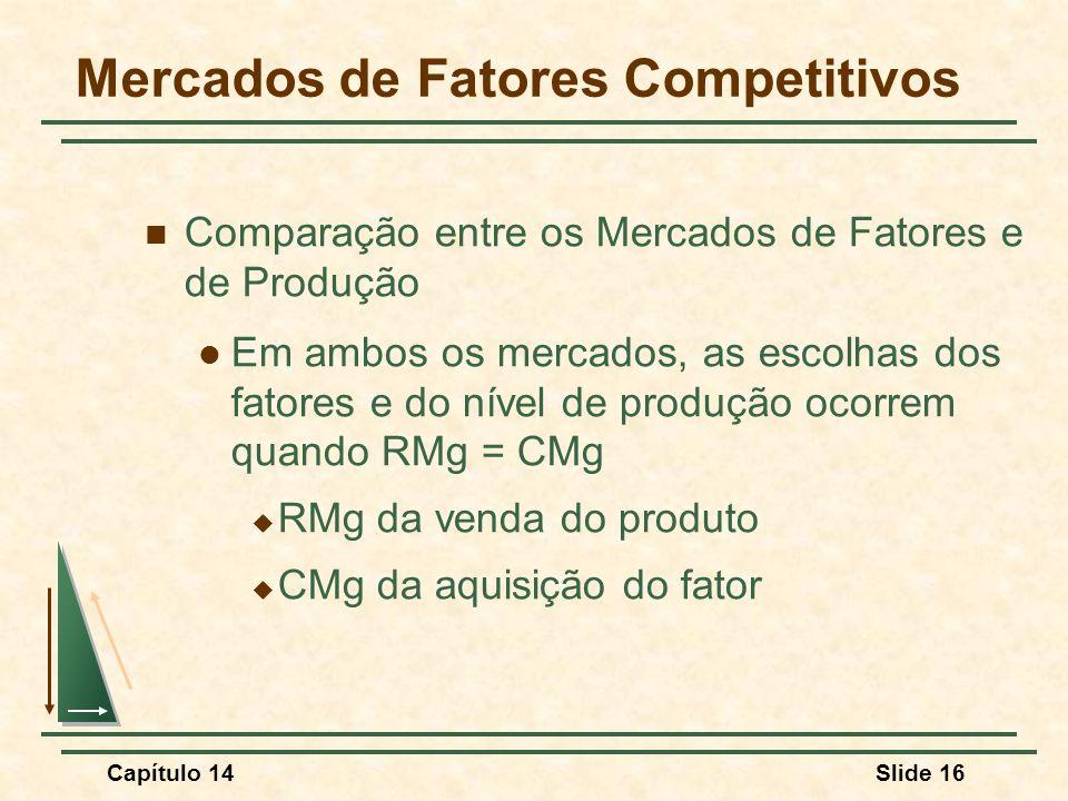 Capítulo 14Slide 16 Mercados de Fatores Competitivos Comparação entre os Mercados de Fatores e de Produção Em ambos os mercados, as escolhas dos fatores e do nível de produção ocorrem quando RMg = CMg  RMg da venda do produto  CMg da aquisição do fator