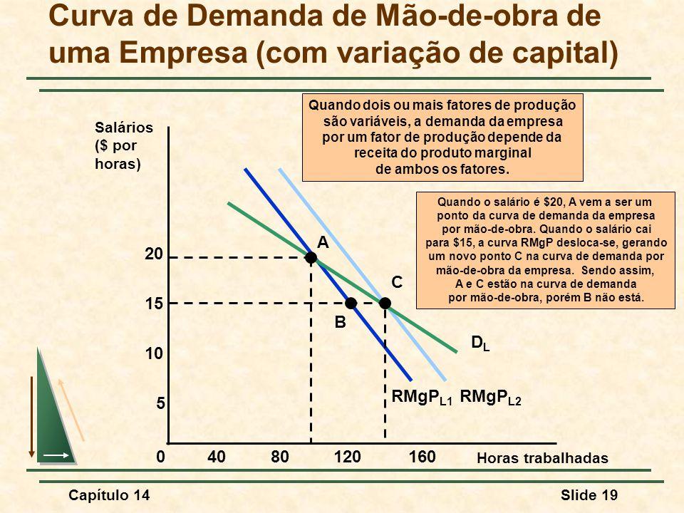 Capítulo 14Slide 19 RMgP L1 RMgP L2 Quando dois ou mais fatores de produção são variáveis, a demanda da empresa por um fator de produção depende da receita do produto marginal de ambos os fatores.