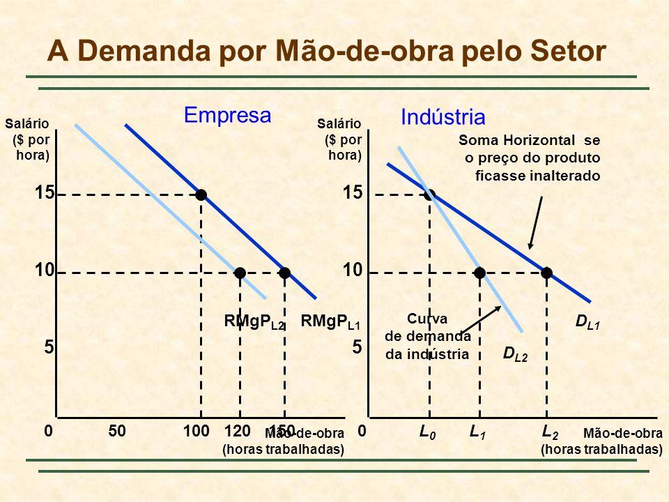 RMgP L1 A Demanda por Mão-de-obra pelo Setor Mão-de-obra (horas trabalhadas) Mão-de-obra (horas trabalhadas) Salário ($ por hora) Salário ($ por hora) 0 5 10 15 0 5 10 15 50100150L0L0 L2L2 D L1 Soma Horizontal se o preço do produto ficasse inalterado 120 RMgP L2 L1L1 Curva de demanda da indústria D L2 Empresa Indústria