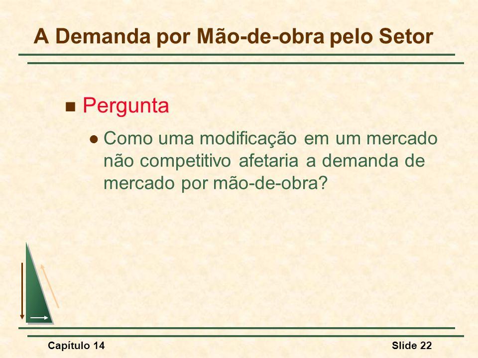 Capítulo 14Slide 22 A Demanda por Mão-de-obra pelo Setor Pergunta Como uma modificação em um mercado não competitivo afetaria a demanda de mercado por mão-de-obra?