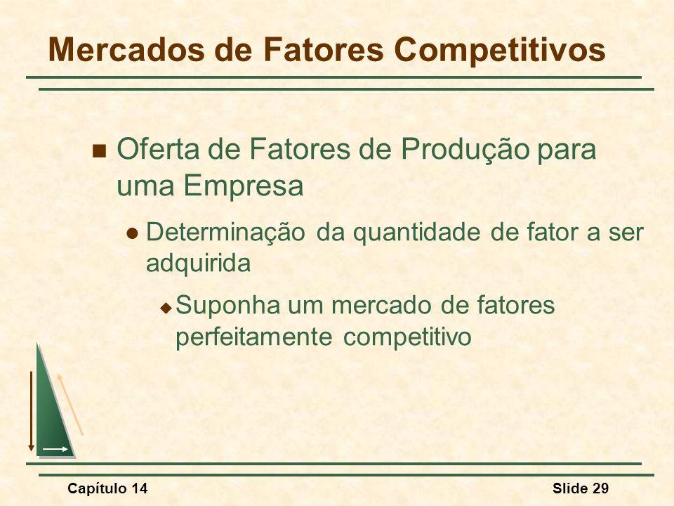 Capítulo 14Slide 29 Mercados de Fatores Competitivos Oferta de Fatores de Produção para uma Empresa Determinação da quantidade de fator a ser adquirida  Suponha um mercado de fatores perfeitamente competitivo