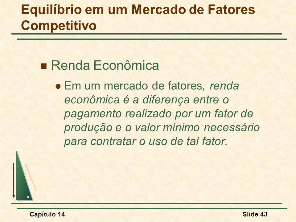 Capítulo 14Slide 43 Renda Econômica Em um mercado de fatores, renda econômica é a diferença entre o pagamento realizado por um fator de produção e o valor mínimo necessário para contratar o uso de tal fator.