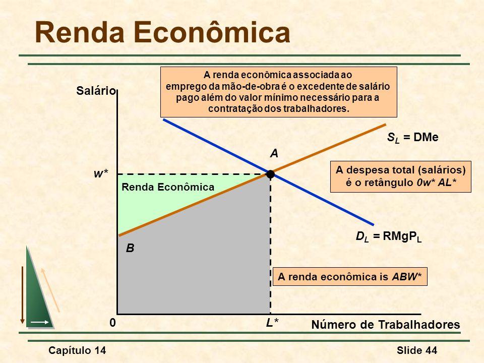 Capítulo 14Slide 44 A despesa total (salários) é o retângulo 0w* AL* Renda Econômica A renda econômica is ABW* B Renda Econômica Número de Trabalhadores Salário S L = DMe D L = RMgP L w* L* A 0 A renda econômica associada ao emprego da mão-de-obra é o excedente de salário pago além do valor mínimo necessário para a contratação dos trabalhadores.