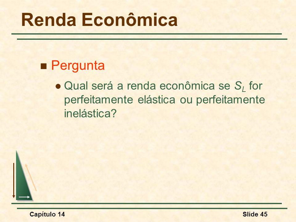 Capítulo 14Slide 45 Renda Econômica Pergunta Qual será a renda econômica se S L for perfeitamente elástica ou perfeitamente inelástica?