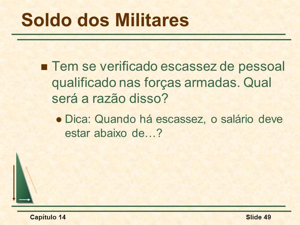 Capítulo 14Slide 49 Soldo dos Militares Tem se verificado escassez de pessoal qualificado nas forças armadas.