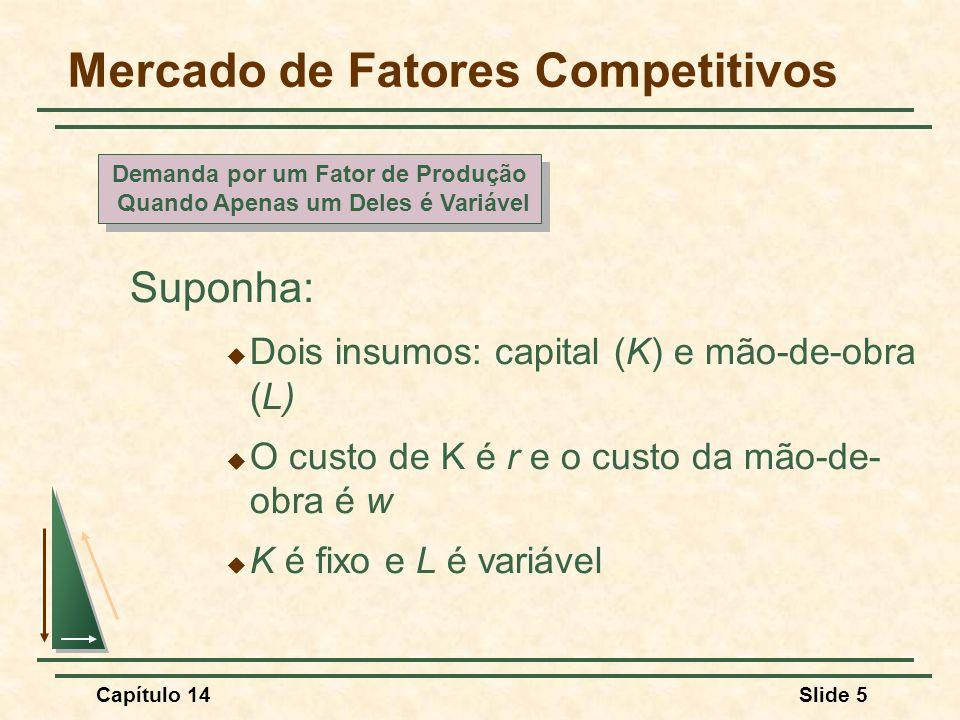 Capítulo 14Slide 5 Mercado de Fatores Competitivos Suponha:  Dois insumos: capital (K) e mão-de-obra (L)  O custo de K é r e o custo da mão-de- obra é w  K é fixo e L é variável Demanda por um Fator de Produção Quando Apenas um Deles é Variável Demanda por um Fator de Produção Quando Apenas um Deles é Variável
