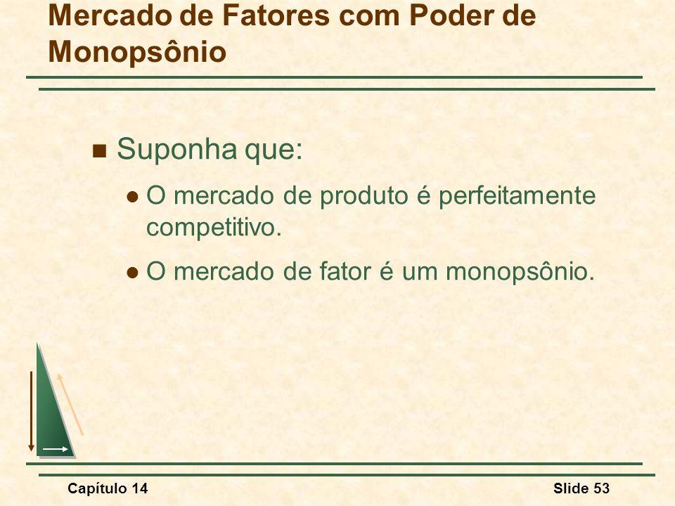 Capítulo 14Slide 53 Mercado de Fatores com Poder de Monopsônio Suponha que: O mercado de produto é perfeitamente competitivo.