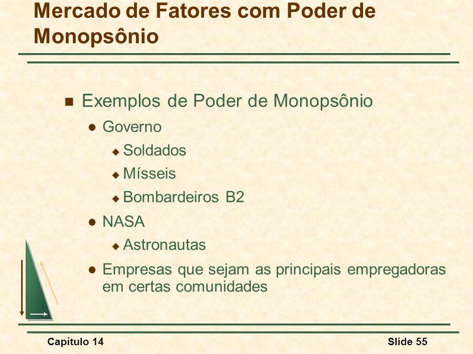 Capítulo 14Slide 55 Mercado de Fatores com Poder de Monopsônio Exemplos de Poder de Monopsônio Governo  Soldados  Mísseis  Bombardeiros B2 NASA  Astronautas Empresas que sejam as principais empregadoras em certas comunidades