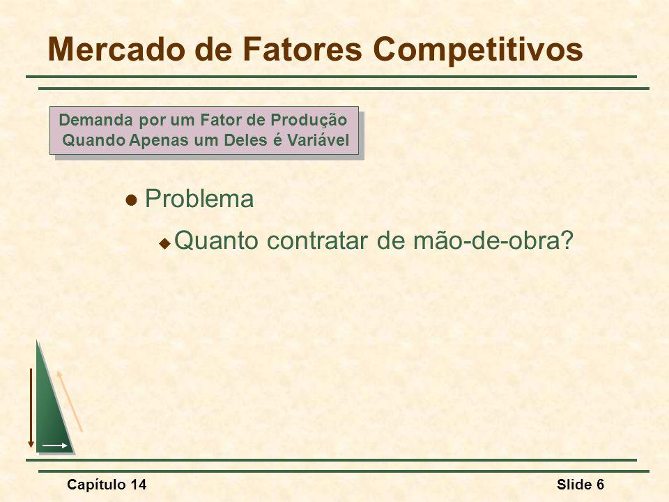 Capítulo 14Slide 6 Mercado de Fatores Competitivos Problema  Quanto contratar de mão-de-obra.