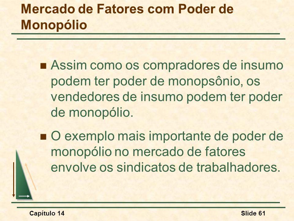 Capítulo 14Slide 61 Mercado de Fatores com Poder de Monopólio Assim como os compradores de insumo podem ter poder de monopsônio, os vendedores de insumo podem ter poder de monopólio.