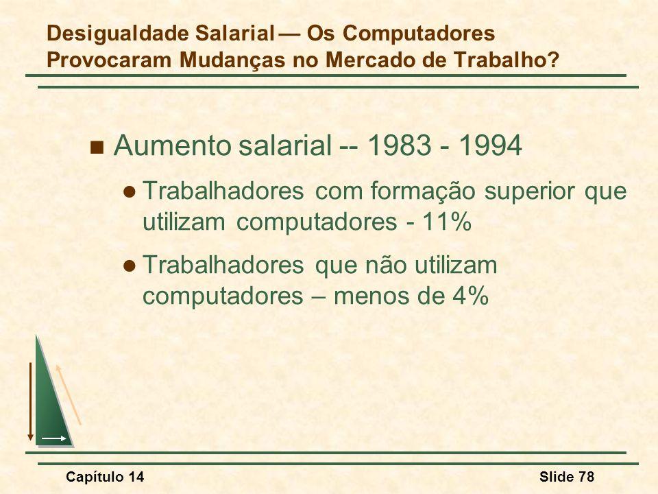 Capítulo 14Slide 78 Desigualdade Salarial — Os Computadores Provocaram Mudanças no Mercado de Trabalho.