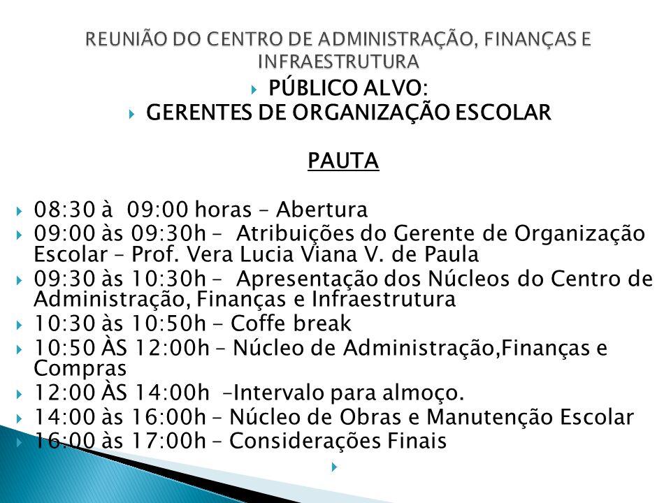  PÚBLICO ALVO:  GERENTES DE ORGANIZAÇÃO ESCOLAR PAUTA  08:30 à 09:00 horas – Abertura  09:00 às 09:30h – Atribuições do Gerente de Organização Escolar – Prof.